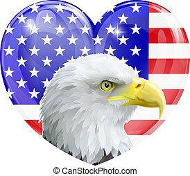 águila, norteamericano, adore corazón