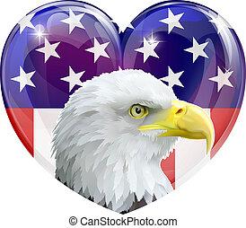 águila, norteamericano, amor, bandera, corazón