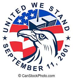 águila, norteamericano, calvo, 9-11, bandera