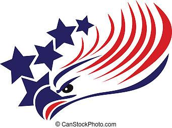 águila, norteamericano, calvo, bandera, logotipo
