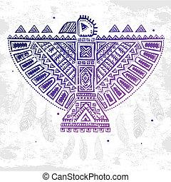 águila, norteamericano, ilustración, nativo