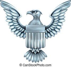 águila, norteamericano, metal, protector