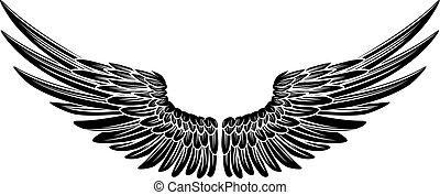 águila, o, alas, ángel, pájaro