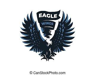 águila, o, halcón, con, extendido, wings.