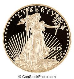 águila, oro, 1, norteamericano, oz, moneda, prueba