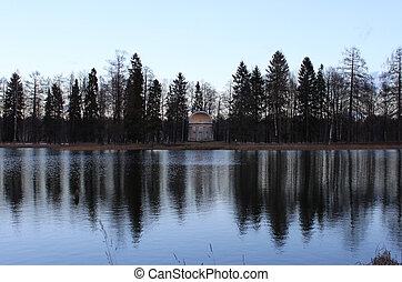 águila, pabellón, lago, gatchina, park., blanco