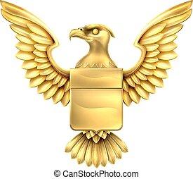 águila, protector, oro