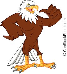 águila, pulgares arriba, caricatura