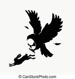 águila, siluetas, atacar