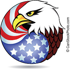 águila, tenido, y, bandera, de, américa
