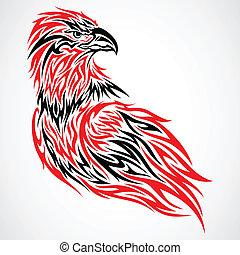 águila, tribal, tatuaje
