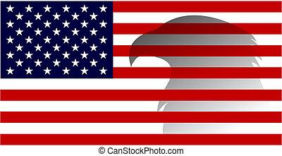águila, unido, image., –, bandera, 4, estados, america., vector, norteamericano, julio, día, independencia