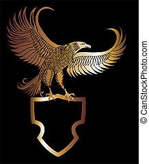 águila, vector, arte, protector, oro