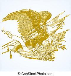 águila, vector, flechas, banderas