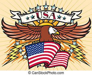 águila voladora, con, bandera de los e.e.u.u