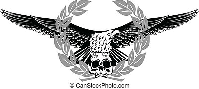 águila, y, cráneo