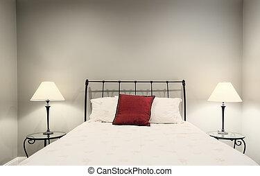 ágy, és, lámpa