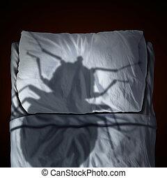 ágy, bogár, félelem