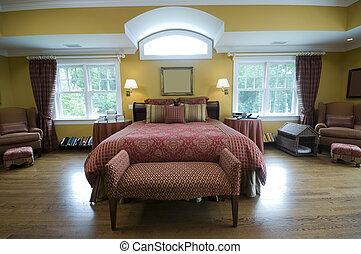 ágy, király, pazar, fiatalúr, hálószoba, nagyság, ablak, fény, gyönyörű