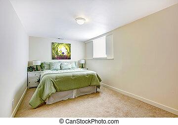 ágy, nagy, zöld, hálószoba, fehér, művészet
