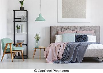 ágy, noha, pasztell, ágynemű