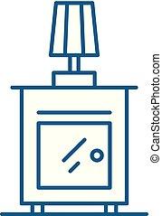 ágy oldala, lakás, áttekintés, aláír, concept., jelkép, vektor, asztal, egyenes, ikon, illustration.