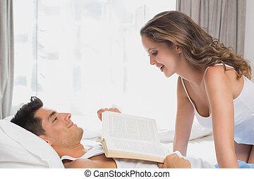 ágy, párosít, romantikus, otthon