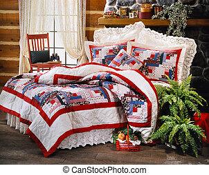 ágy, szoba, állhatatos, noha, ágynemű, és, ablak, fény,...