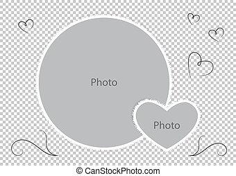 álbum, coração, foto família, bordas, redondo