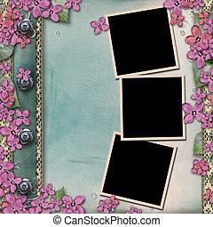 álbum, de madera, cubierta, lila, marcos