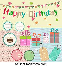 álbum de recortes, cumpleaños, diseño, elementos