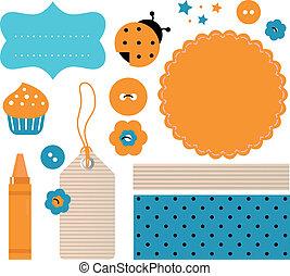 álbum de recortes, diseñe elementos, aislado, blanco, (, naranja, azul, )