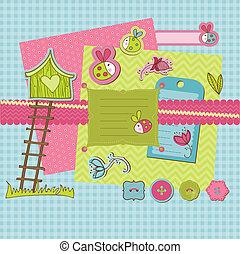 álbum de recortes, diseñe elementos, -, lindo, mariquitas, y, flores, en, vector