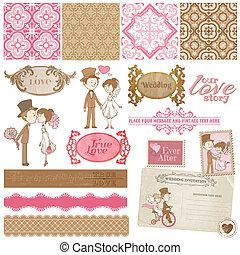 álbum de recortes, diseñe elementos, -, vendimia, boda, conjunto, -, para, su, diseño, invitación, felicitación