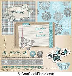 álbum de recortes, diseñe elementos, -, vendimia, encaje, mariposas, -, en, vector