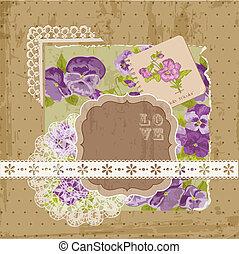 álbum de recortes, diseñe elementos, -, vendimia, flores violetas, en, vector