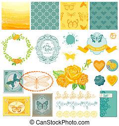 álbum de recortes, diseñe elementos, -, vendimia, ombre, mariposas, -, en, vector