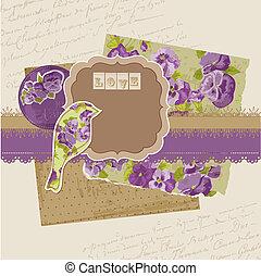 álbum de recortes, diseñe elementos, -, vendimia, viola, flores, en, vector