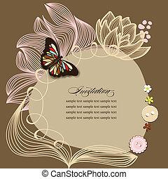 álbum de recortes, diseño, invitación, plantilla, con, flores, y, mariposa