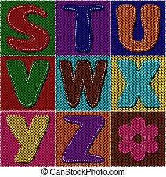 álbum de recortes, tejido, alfabeto, en, labor de retazos