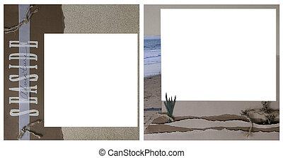 álbum de recortes, tema, marco, plantilla, océano