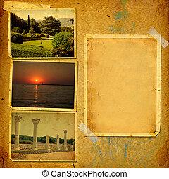 Álbum, el suyo, viejo, vendimia, viajes, Plano de fondo,...