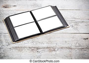 álbum, foto, abierto