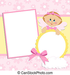 álbum, foto, bebé, plantilla