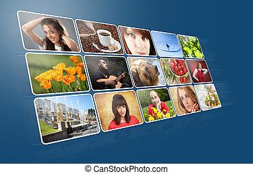 álbum, foto, digital