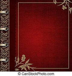 álbum foto, -, rojo, cubierta, con, bronceado, florido