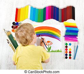 Álbum, imagen, Pintura, cepillo, niño