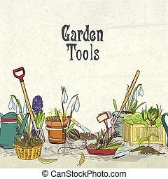 álbum, jardinagem, cobertura, mão, desenhado, ferramentas
