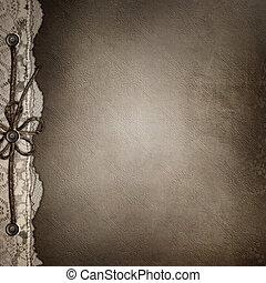 álbum, marrón, cubierta