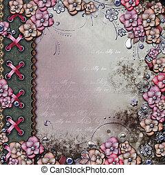 álbum, perlas, cubierta, flores